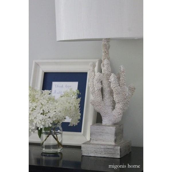 Design Craft White Resin Coral Reef 28 Inch Table Lamp   Free Shipping  Today   Overstock.com   15458584