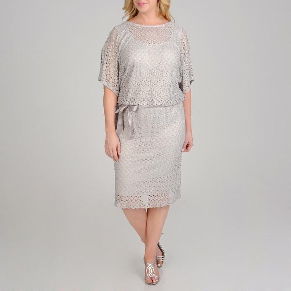 R & M Richards Women's Plus Size Metallic Lace Blouson Dress