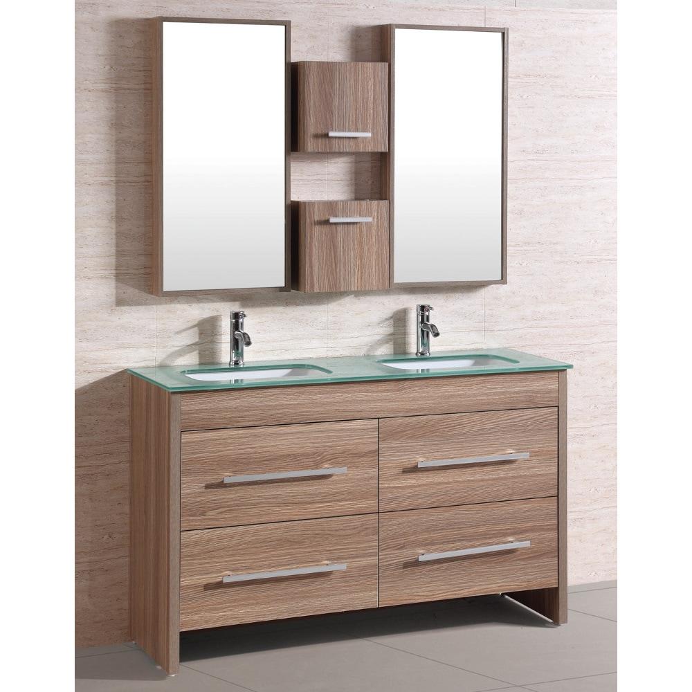 Natural Glass Top 54 Inch Double Sink Bathroom Vanity Set Overstock 8110204