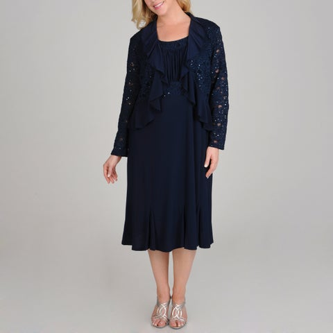 R & M Richards 2-piece Navy Sequin Lace Plus Size Jacket Dress