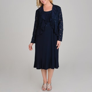 R & M Richards Plus Size Sequin Lace 2-piece Navy Jacket Dress
