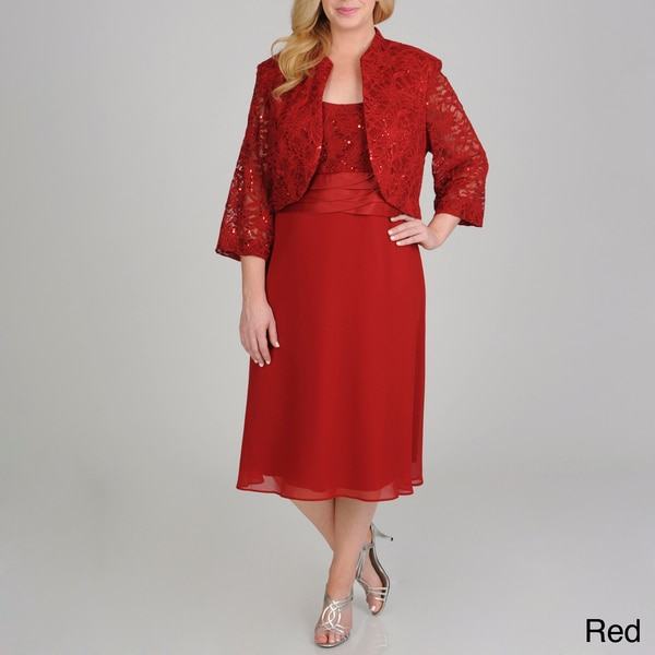 R & M Richards Plus Size Sequin Lace 2-piece Jacket Dress - Free ...