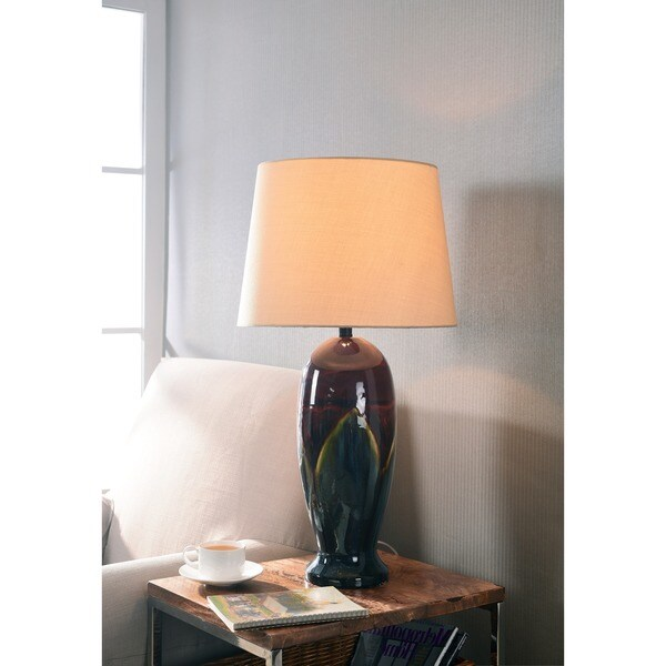 "Design Craft Flowing 30"" Table Lamp - Red/ Blue Ceramic Glaze"