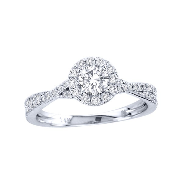 De Couer 14k Gold 3/4ct TDW Diamond Halo Engagement Ring