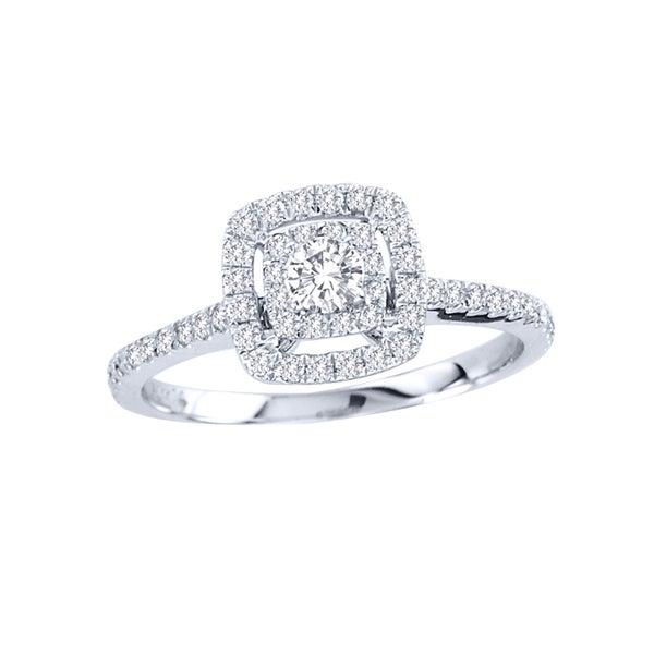 De Couer 14k Gold 1/2ct TDW Diamond Double Halo Engagement Ring