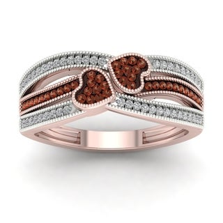De Couer 10k Gold 1/5ct TDW Cognac and White Diamond Heart Ring (H-I, I2)