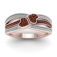 De Couer 10k Gold 1/5ct TDW Cognac and White Diamond Heart Ring