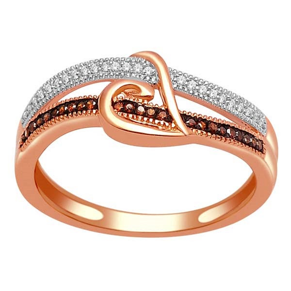 De Couer 10k Gold 1/8ct TDW Cognac and White Diamond Ring