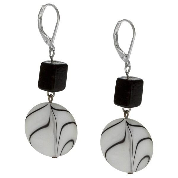 Alexa Starr Silvertone Black and White Animal Print Shell Earrings