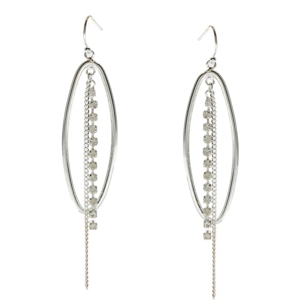 Alexa Starr Silvertone Rhinestone Chain and Oval Hoop Earrings
