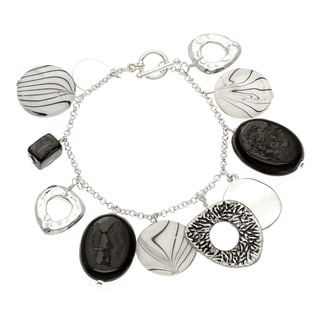 Alexa Starr Silvertone Black and White Glass and Shell Toggle Bracelet