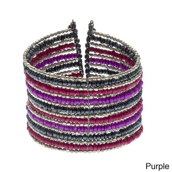Alexa Starr Silvertone and Glass Bead Cuff Bracelet