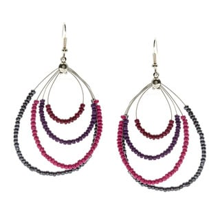 Alexa Starr Silvertone Beaded Teardrop Hoop Earrings
