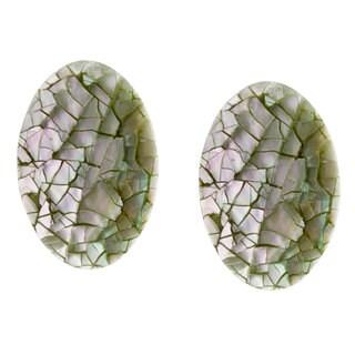 Alexa Starr Silvertone Mosaic Shell Clip-on Earrings