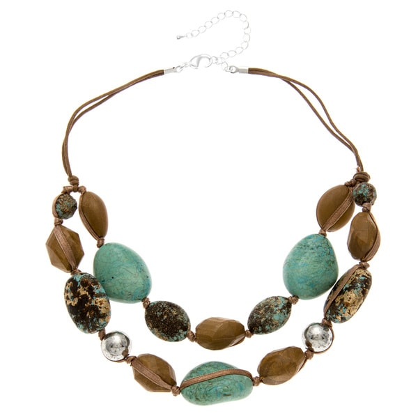 Alexa Starr Silvertone Faux Turquoise and Wood Necklace