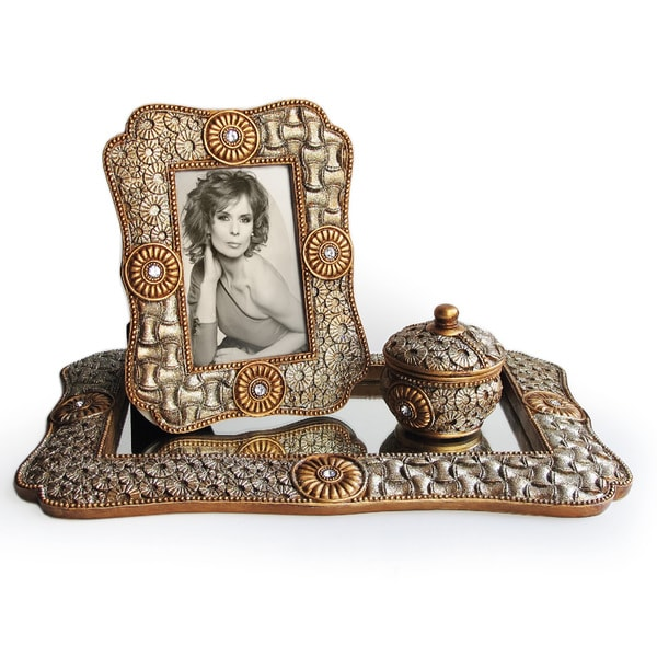 Mirror Glass and Goldtone 3-piece Vanity Set