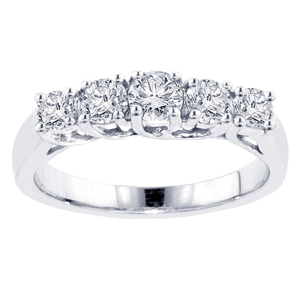 14k/ 18k White Gold 1ct TDW 5-stone Diamond Band (G-H, SI1-SI2)