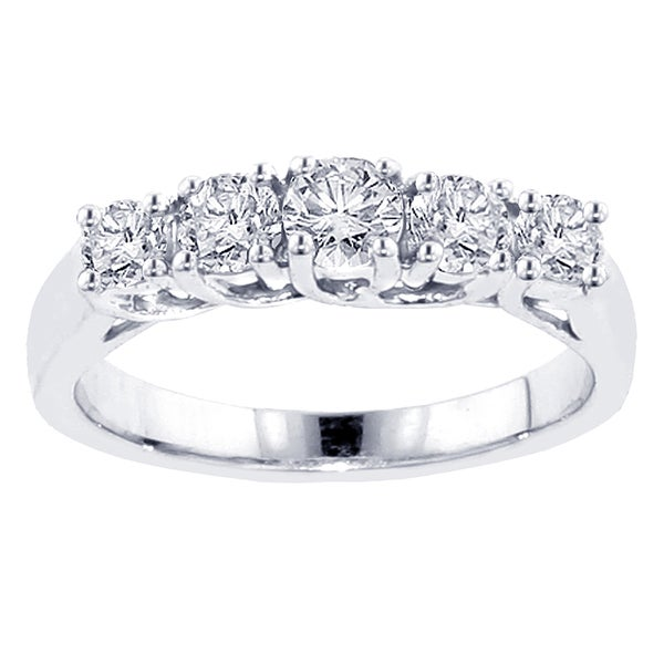 14k/ 18k White Gold 1ct TDW 5-stone Diamond Band