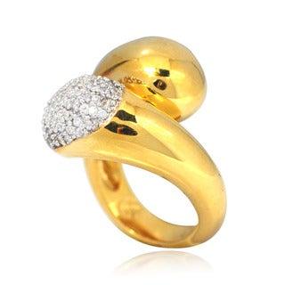 De Buman 14k Gold-overlay White Cubic Zirconia Ring