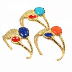 De Buman 14k Gold Overlay Gemstone Enamel Cuff Bracelet