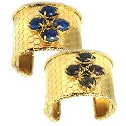 De Buman 14k Gold Plated Natural Dumortierite or Agate Gemstone Cuff Bracelet