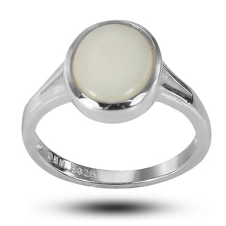 De Buman Sterling Silver Genuine Bezel-set Opal 8 mm wide x 10 mm long Ring