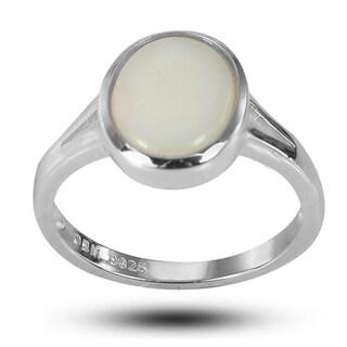 De Buman Sterling Silver Genuine Bezel-set Opal 8 mm wide x 10 mm long Ring - White