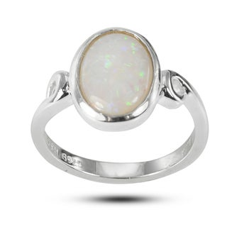 De Buman Sterling Silver 8 mm wide x 10 mm long Genuine Opal Ring