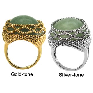 De Buman 14k Gold Overlay Oval Green Jade Ring