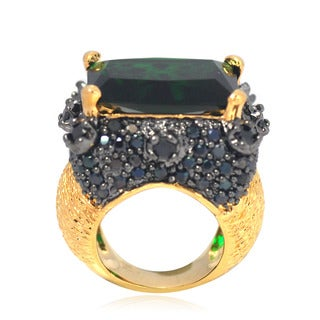 De Buman Gold Overlay Green Crystal and Black Cubic Zirconia Ring