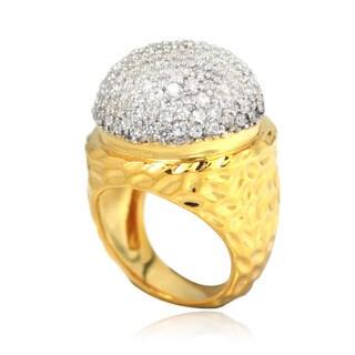 De Buman 14k Gold Overlay Cubic Zirconia Hammered Ring