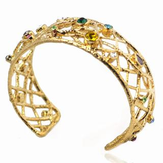 De Buman 14k Gold Overlay Multi-color Crystal Cuff Bracelet