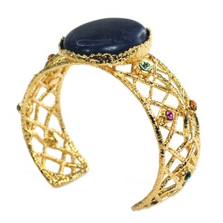 De Buman 14k Gold Overlay Natural Gemstone and Crystal Cuff Bracelet (3 options available)