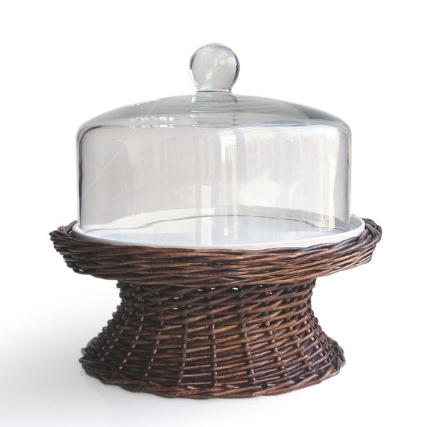 Willow Pedestal Cake Plate With Glass Dome