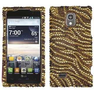 INSTEN Tiger Skin Camel/ Brown Diamante Phone Case Cover for LG VS930 Spectrum 2