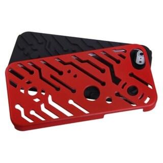 INSTEN Titanium Red/ Black Circuitboard Hybrid Phone Case for Apple iPhone 5/ 5S/ SE