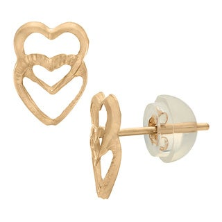 Junior Jewels 14k Gold Children's Double Heart Stud Earrings