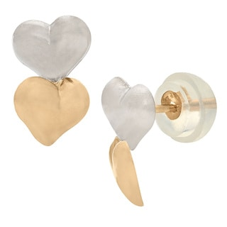 Junior Jewels 14k Gold Children's Double Puffed Heart Stud Earrings