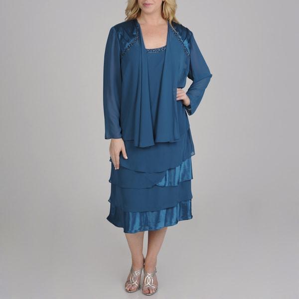 S.L. Fashions Plus Size 2-piece Chiffon Jacket Dress