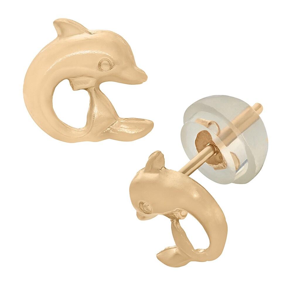 Junior Jewels 14k Gold Children's Dolphin Stud Earrings (...