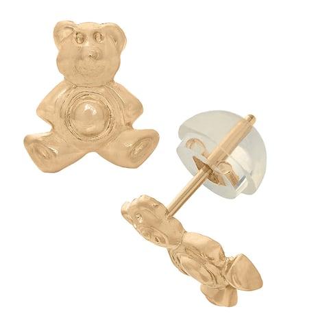 Junior Jewels 14k Gold Children's Teddy Bear Stud Earrings