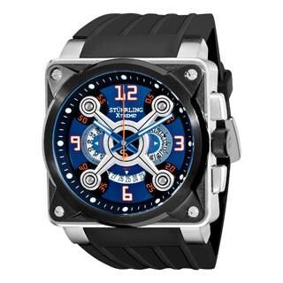Stuhrling Original Men's Raven Crossfire Quartz Rubber Strap Watch