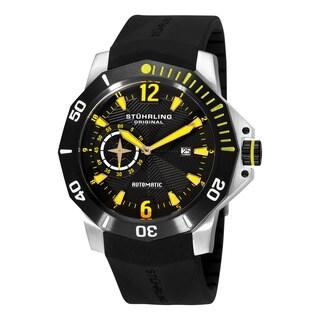 Yellow Stuhrling Original Men's QuarterMaster ADM Automatic Rubber-Strap Watch