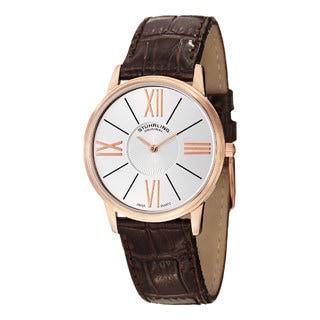 Stuhrling Original Men's Ascot Solei Quartz Brown Leather Strap Watch