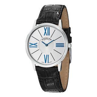 Stuhrling Original Men's Ascot Solei Quartz Black Leather Strap Watch
