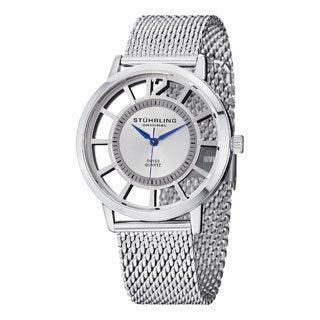 Stuhrling Original Men's Winchester Del Sol Elite Silvertone Quartz Mesh Band Watch