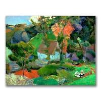 Paul Gauguin 'Landscape at Pont Aven' Canvas Art - Multi