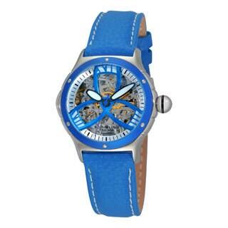 Stuhrling Original Women's Classic Alpine Girl Automatic Skeleton Blue Leather Strap Watch