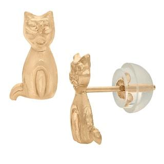Junior Jewels 14k Gold Children's Kitten Stud Earrings