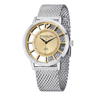 Stuhrling Original Men's Winchester Del Sol Elite Goldtone Quartz Mesh Band Watch